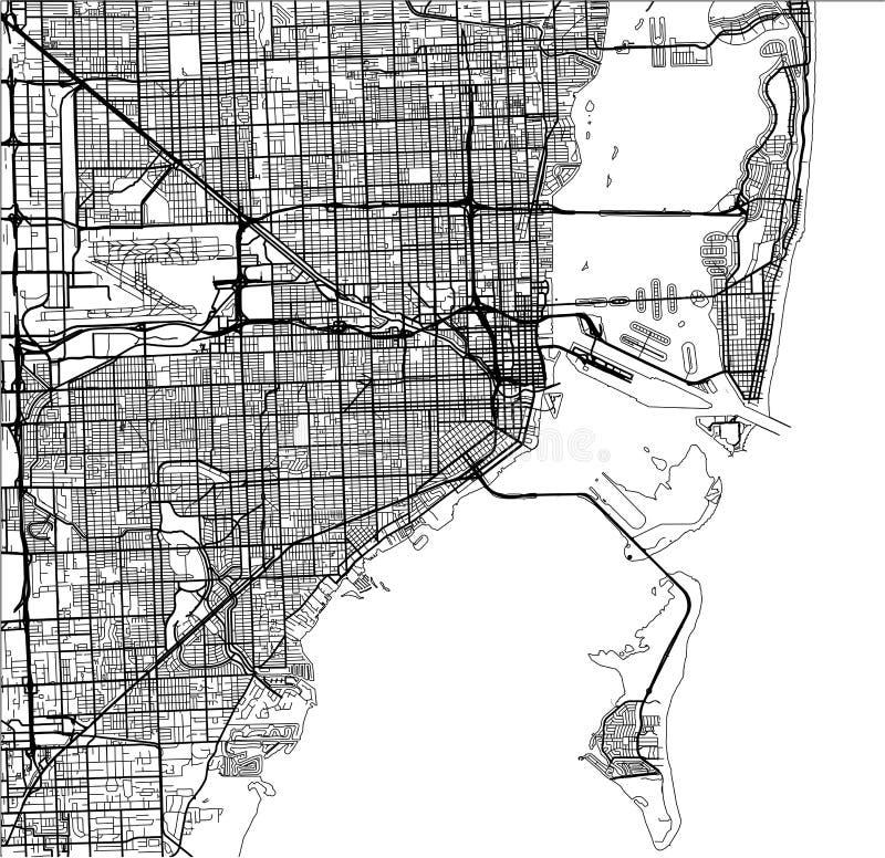 Översikt av staden av Miami, USA vektor illustrationer