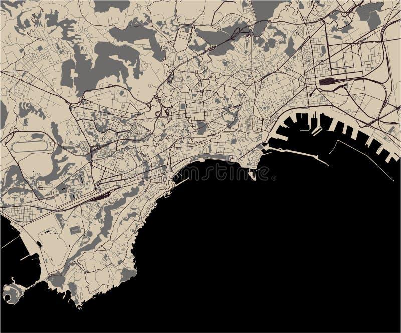 Översikt av staden av Naples, Campania, Italien vektor illustrationer