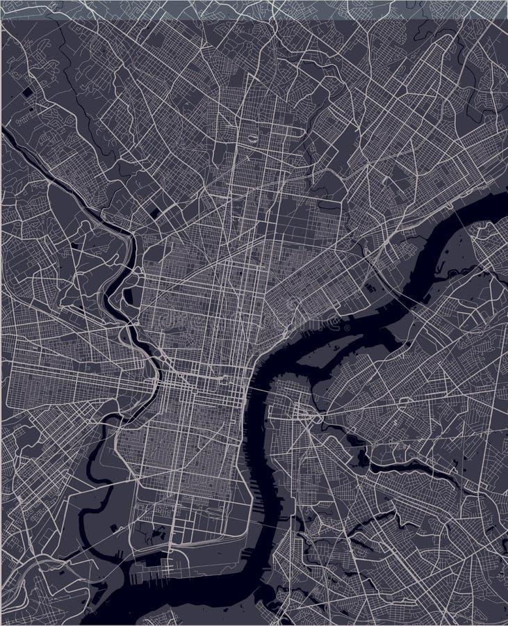 Översikt av staden av Philadelphia, Pennsylvania, USA vektor illustrationer
