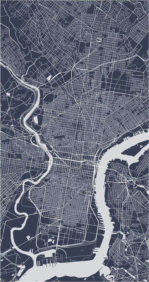 Översikt av staden av Philadelphia, Pennsylvania, USA royaltyfri illustrationer
