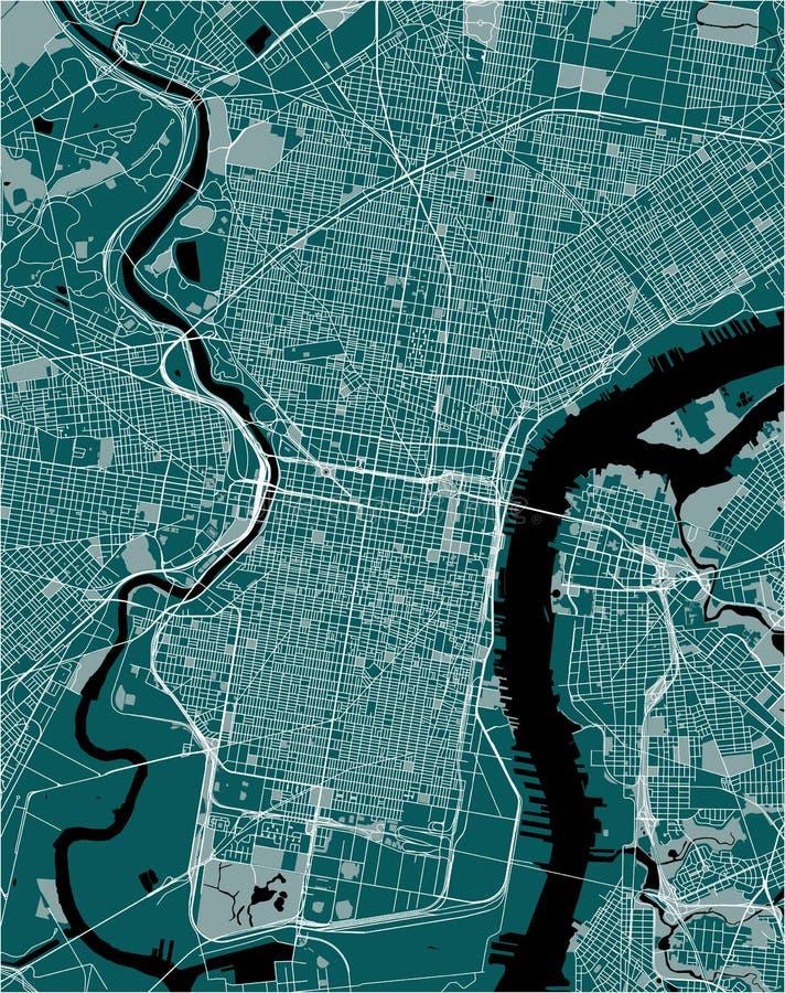 Översikt av staden av Philadelphia, Pennsylvania, USA stock illustrationer