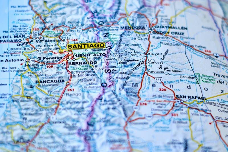 Översikt av staden av Santiago, huvudstad av Chile arkivbild