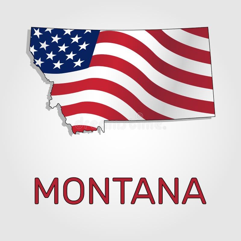Översikt av staten av Montana i kombination med a som vinkar flaggan av Förenta staterna - vektor royaltyfri illustrationer