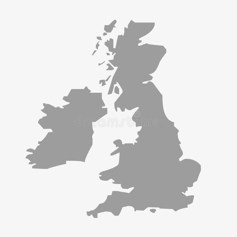 Översikt av Storbritannien i grå färger på en vit bakgrund royaltyfri illustrationer
