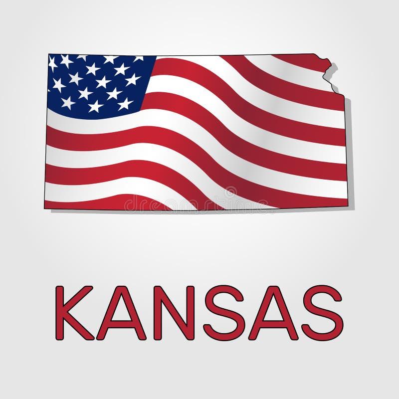 Översikt av tillståndet av Kansas i kombination med a som vinkar flaggan av Förenta staterna - vektor stock illustrationer