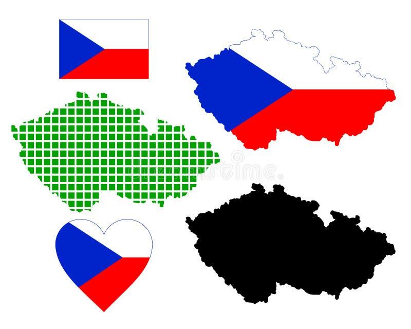 Översikt av Tjeckien vektor illustrationer