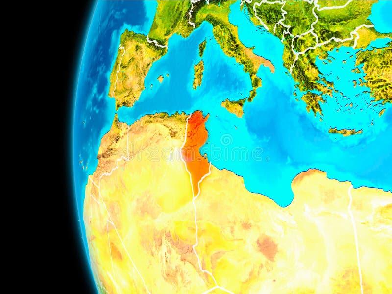 Översikt av Tunisien i rött royaltyfri illustrationer