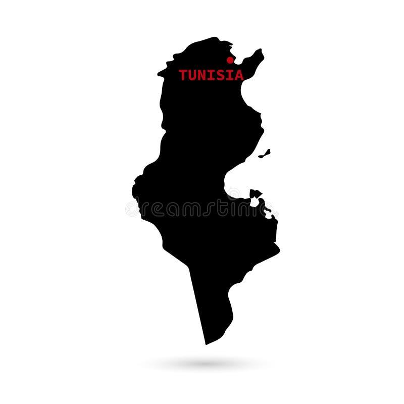 Översikt av Tunisien svart på vit bakgrund stock illustrationer
