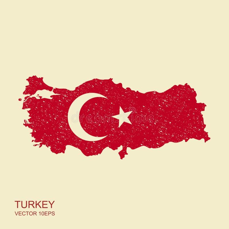 Översikt av Turkiet och nationsflaggasymboler med hasad effekt stock illustrationer