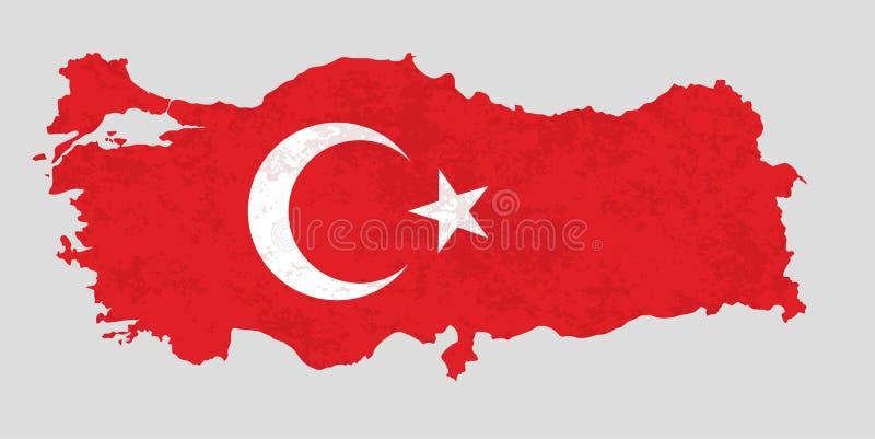 Översikt av Turkiet som fylls med nationsflaggan royaltyfri illustrationer