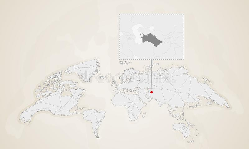 Översikt av Turkmenistan med gränsa till länder som klämmas fast på världskarta vektor illustrationer