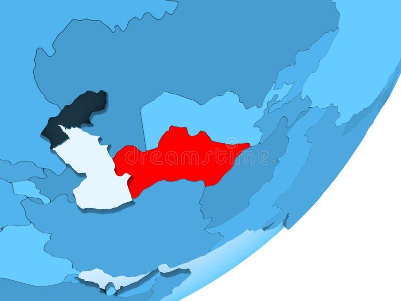 Översikt av Turkmenistan på det blåa politiska jordklotet stock illustrationer
