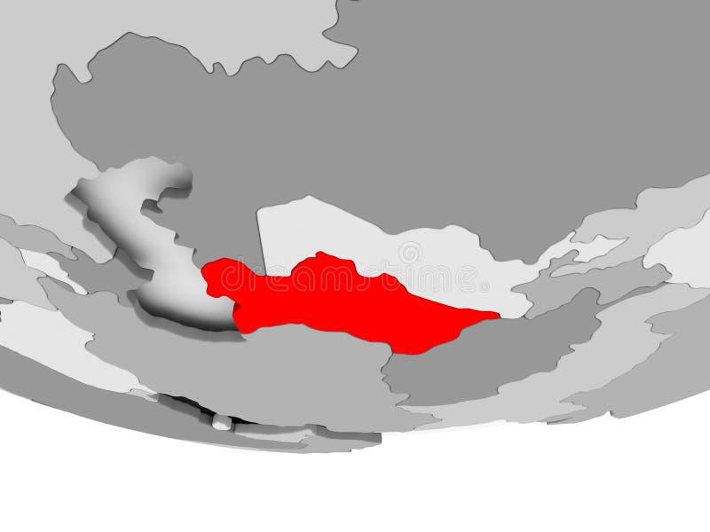 Översikt av Turkmenistan på det gråa politiska jordklotet vektor illustrationer