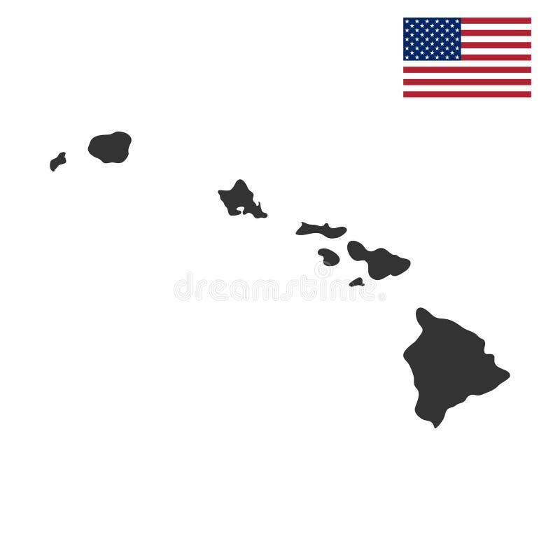 Översikt av Uen S hawaii tillstånd vektor illustrationer