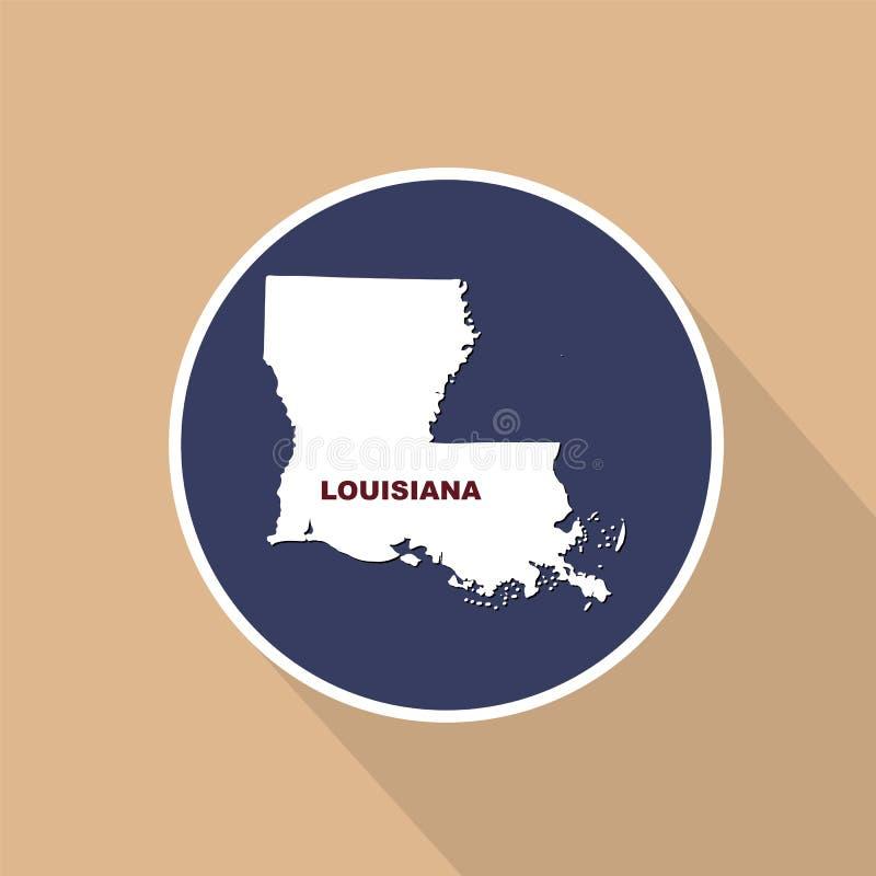 Översikt av Uen S stat av Louisiana på en blå bakgrund Statligt n royaltyfri illustrationer