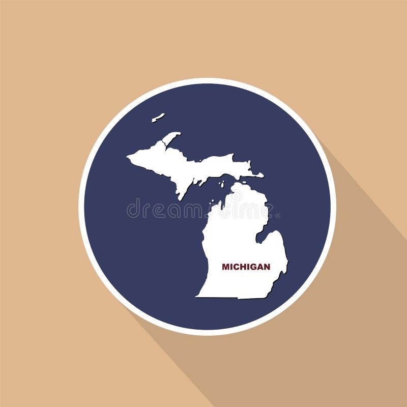 Översikt av Uen S stat av Michigan på en blå bakgrund Statlig na stock illustrationer