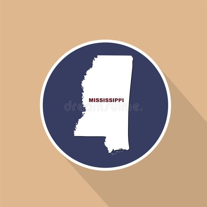 Översikt av Uen S stat av Mississippi på en blå bakgrund tillstånd royaltyfri illustrationer