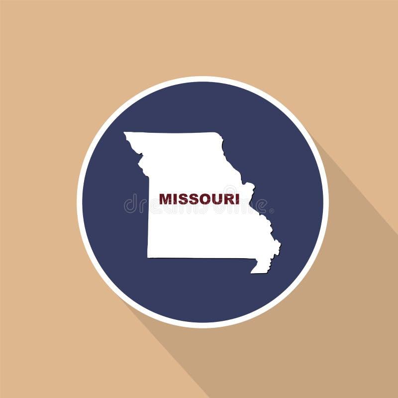 Översikt av Uen S stat av Missouri på en blå bakgrund Statlig na royaltyfri illustrationer