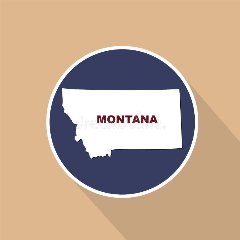 Översikt av Uen S stat av Montana på en blå bakgrund Statlig nam royaltyfri illustrationer