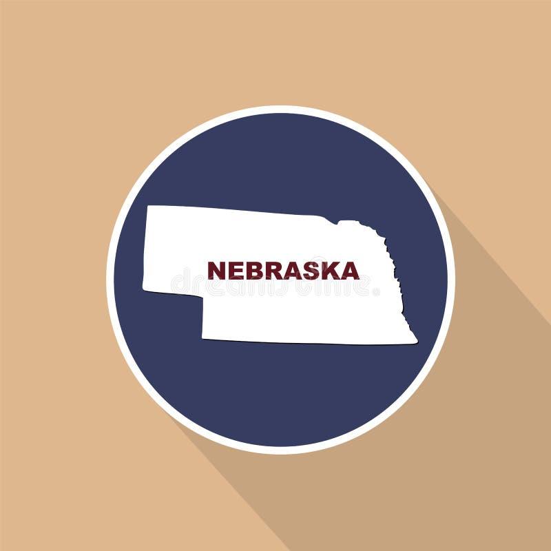 Översikt av Uen S stat av Nebraska på en blå bakgrund Statlig na stock illustrationer