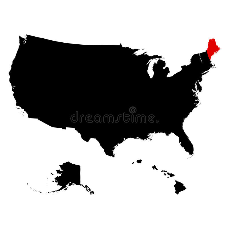 Översikt av Uen S statlig Maine vektor vektor illustrationer