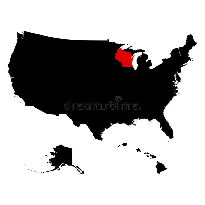 Översikt av Uen S statliga Wisconsin stock illustrationer