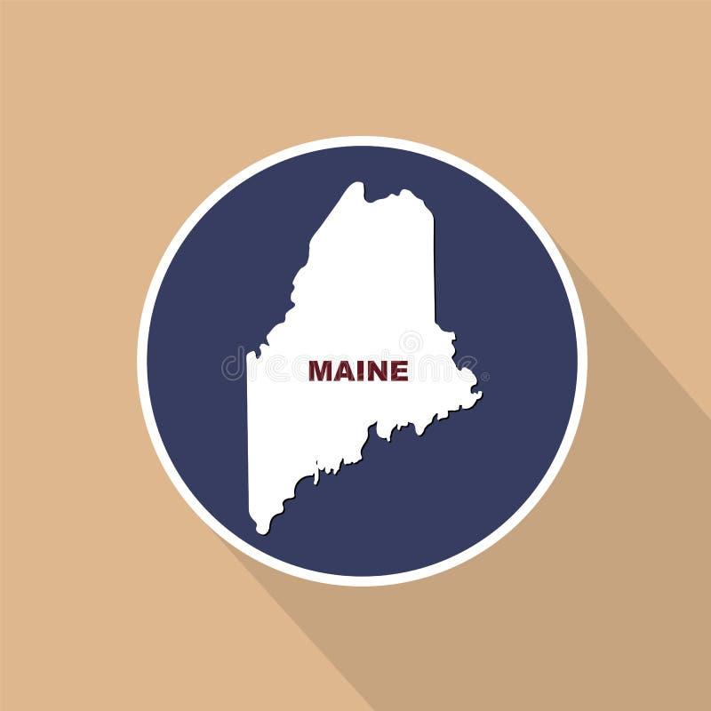 Översikt av Uen S tillstånd av Maine på en blå bakgrund Statligt namn stock illustrationer