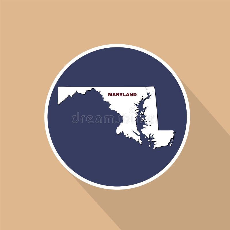 Översikt av Uen S tillstånd av Maryland på en blå bakgrund Statlig na vektor illustrationer