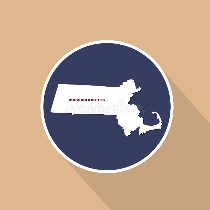 Översikt av Uen S tillstånd av Massachusetts på en blå bakgrund sta stock illustrationer