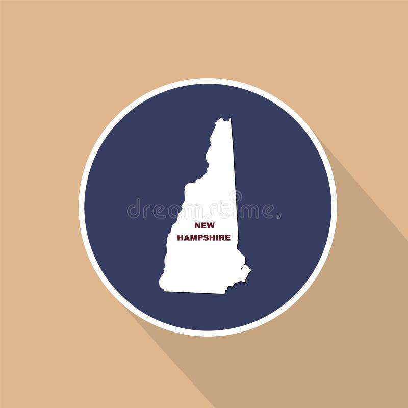 Översikt av Uen S tillstånd av New Hampshire på en blå bakgrund sta royaltyfri illustrationer