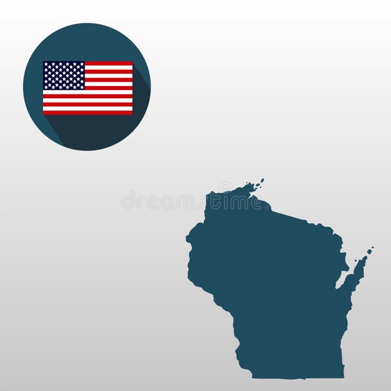 Översikt av Uen S tillstånd av Wisconsin på en vit bakgrund Americ vektor illustrationer