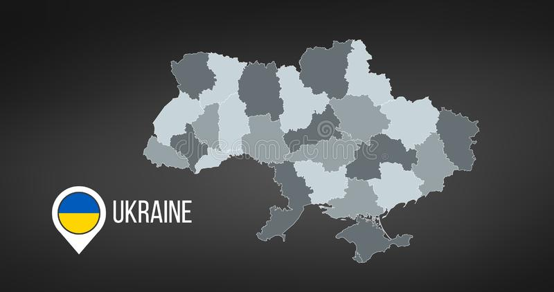 Översikt av Ukraina med uppdelningar Vektorillustration som isoleras p? svart bakgrund stock illustrationer