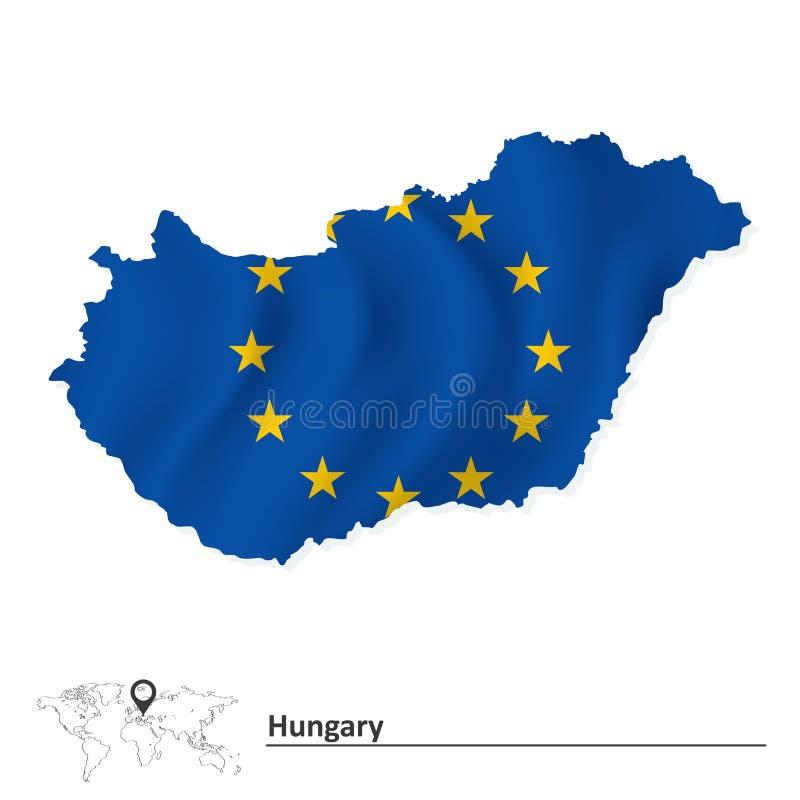 Översikt av Ungern med flaggan för europeisk union stock illustrationer