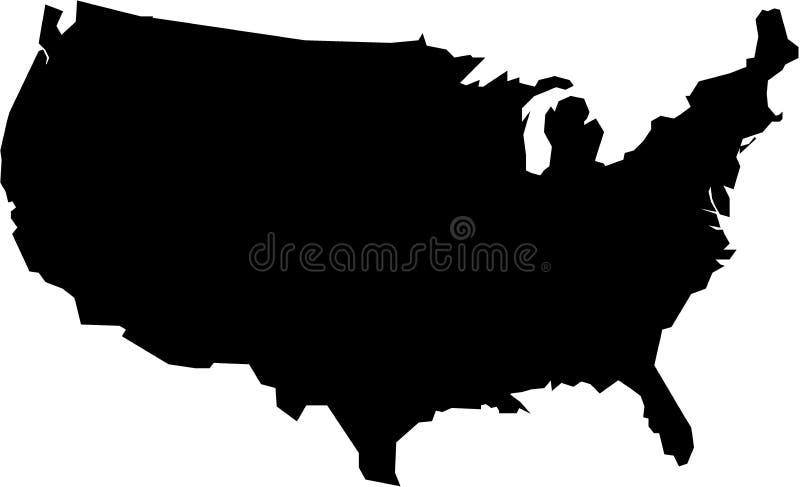 Översikt av USA i svart stock illustrationer