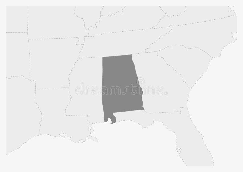 Översikt av USA med den markerade Alabama statöversikten royaltyfri illustrationer