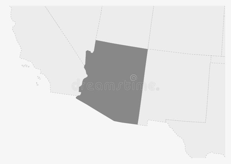 Översikt av USA med den markerade Arizona tillståndsöversikten vektor illustrationer