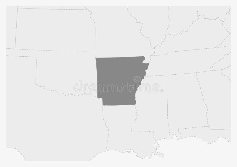 Översikt av USA med den markerade Arkansas statöversikten royaltyfri illustrationer