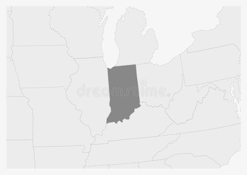 Översikt av USA med den markerade Indiana statöversikten royaltyfri illustrationer