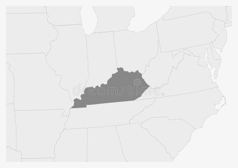 Översikt av USA med den markerade Kentucky statöversikten stock illustrationer