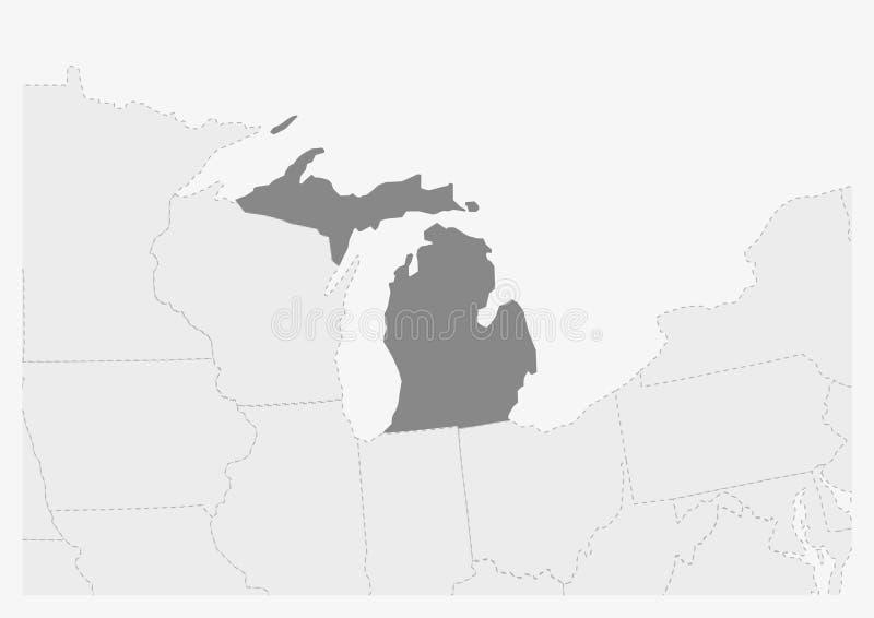 Översikt av USA med den markerade Michiganöversikten stock illustrationer