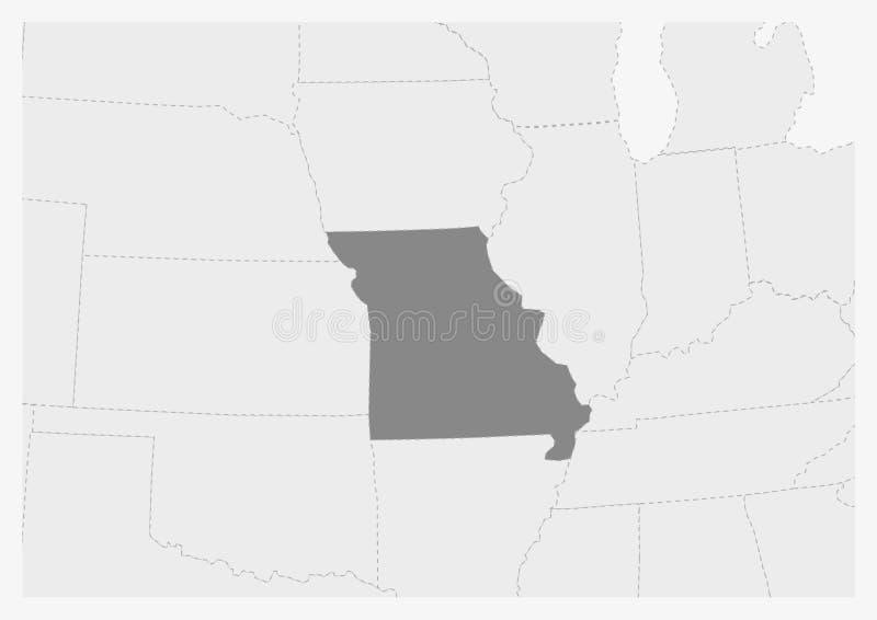 Översikt av USA med den markerade Missouri statöversikten stock illustrationer
