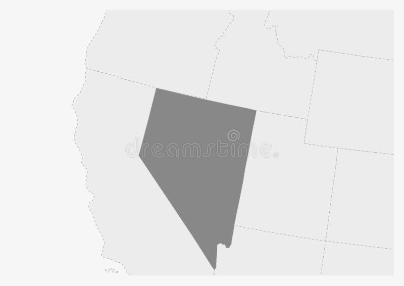 Översikt av USA med den markerade Nevada statöversikten vektor illustrationer