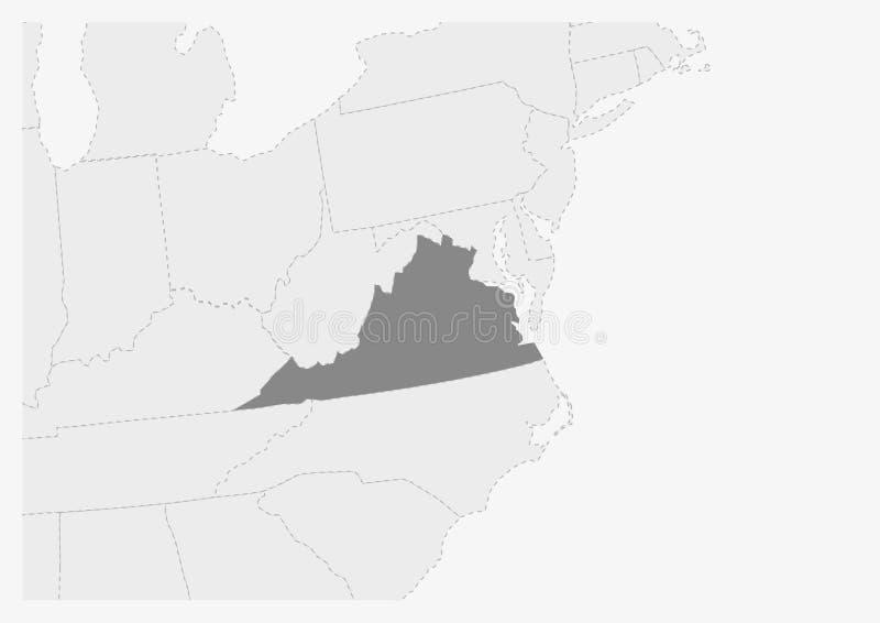 Översikt av USA med den markerade Virginia tillståndsöversikten royaltyfri illustrationer