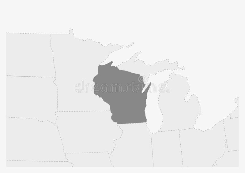 Översikt av USA med den markerade Wisconsin tillståndsöversikten stock illustrationer