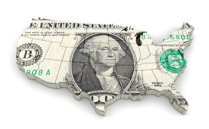 Översikt av USA med dollaren royaltyfri illustrationer