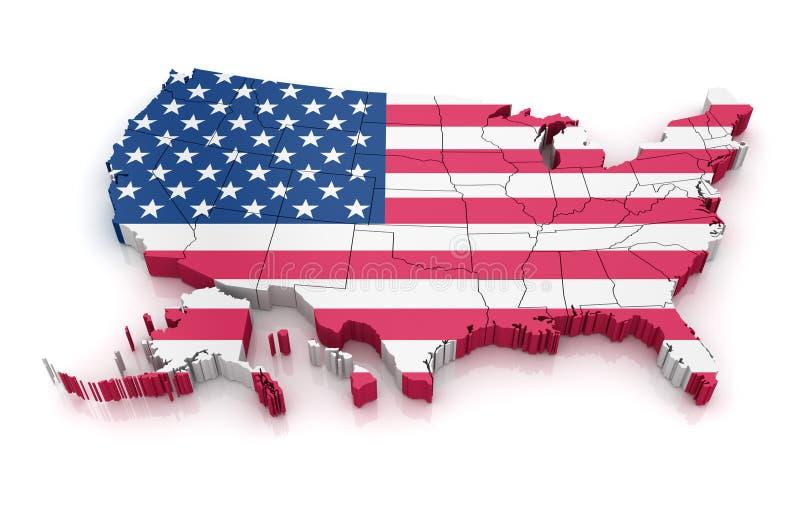 Översikt av USA med flaggan royaltyfri illustrationer