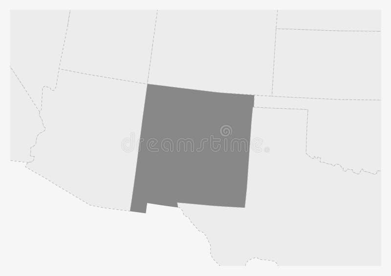 Översikt av USA med markerat nytt - Mexiko statöversikt stock illustrationer