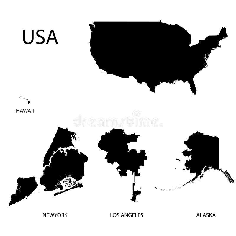 ÖVERSIKT AV USA OCH STORA 4 STÄDER vektor illustrationer