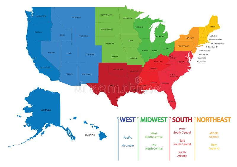 Översikt av USA-regioner Översikter USA royaltyfri illustrationer