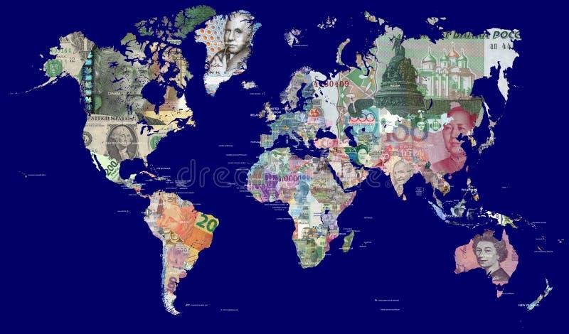 Översikt av världen i valutor arkivfoto